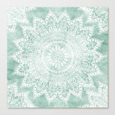 BOHEMIAN FLOWER MANDALA IN TEAL Canvas Print