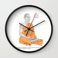 buddha Wall Clocks featuring Buddha by Bryan James