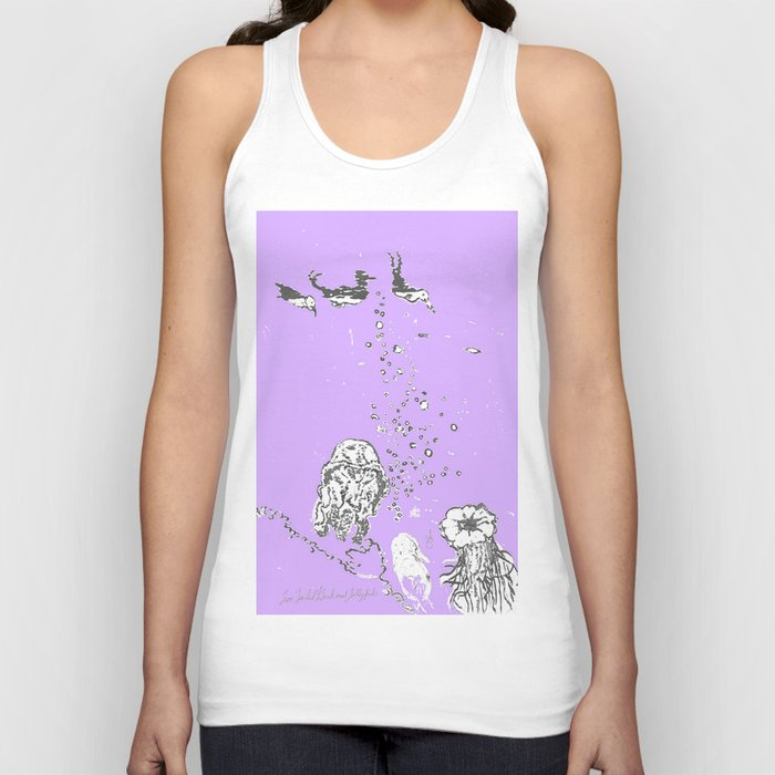 Two Tailed Duck and Jellyfish Purple Grape Unisex Tank Top