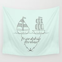 friendship Wall Tapestries featuring Friendship forever by I Love Doodle