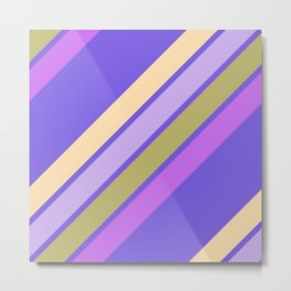 Purple Yellow and Green Stripes Metal Print