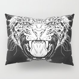 Illustration with a head of a leopard in white on a dark background Pillow Sham