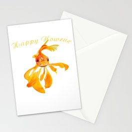Happy Nowruz Persian New Year Goldfish Isolated Stationery Cards