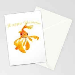 Happy Nowruz Persian New Year Goldfish Isolated Stationery Cards