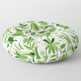 Mexican Otomí Design in Green Floor Pillow