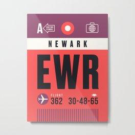 Luggage Tag A - EWR Newark USA Metal Print