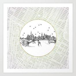New York, New York City Skyline Illustration Drawing Art Print