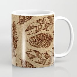 Tribal Wolf  and feathers leather embossed effect Coffee Mug