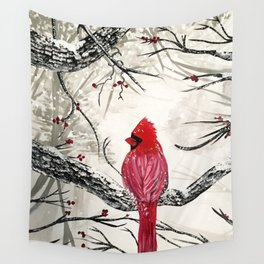 Red Robins Winter Wall Tapestry