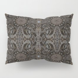 Curves & lotuses, black, brown and taupe Pillow Sham