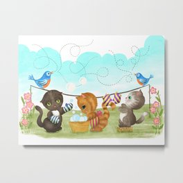 Three Kittens Washing Mittens Metal Print