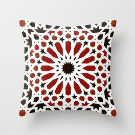 Red Geometric Moroccan Traditional Tiles Artwork. Throw Pillow