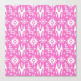 Mid Century Modern Atomic Space Age Pattern Pink Canvas Print
