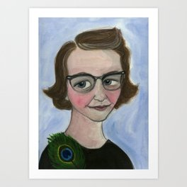 "Flannery O'Connor Art Print, Literary Portrait (6x8) ""A Good Flannery is Hard to Find"" Art Print"