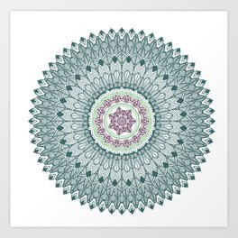 Color teal and purple feather mandala hippie boho Art Print