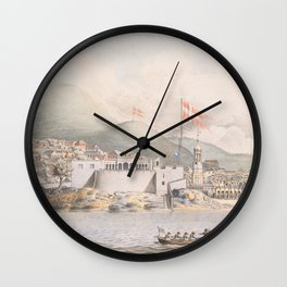 Vintage Pictorial View of Christiansted St Croix (1839) Wall Clock