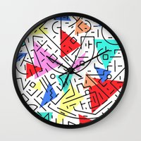 90s Wall Clocks featuring 90s pattern by molly ennis