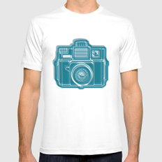 I Still Shoot Film Camera Logo White SMALL Mens Fitted Tee