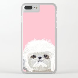 Shih Tsu dog portrait pink cute art gifts for dog breed lovers Clear iPhone Case