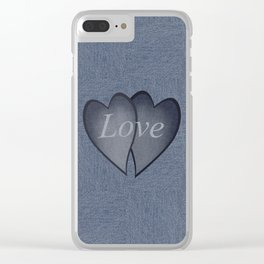 Hearts with background - denim photocollage Clear iPhone Case