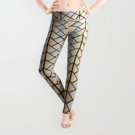 """Dream of Architecture Pattern """"Sydney Opera"""" Gold and Silver Leggings"""
