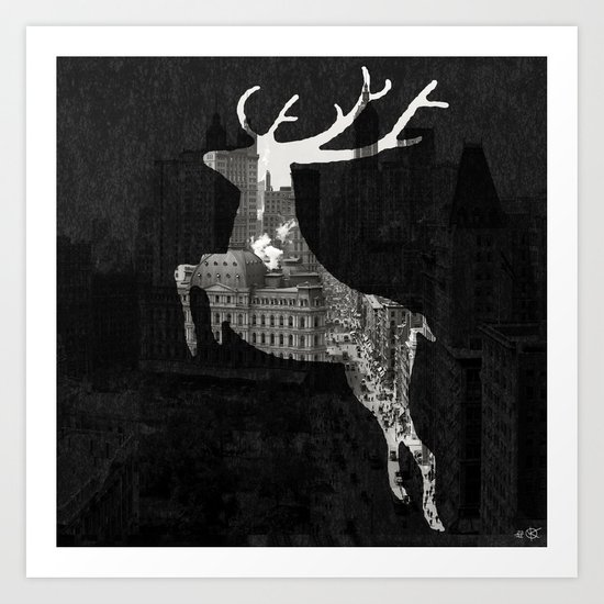 Deer City Collage 1 Art Print