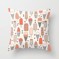 ice Throw Pillows featuring Ice Cream Season by Andrea Lauren Design