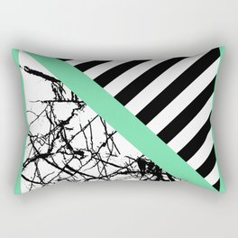 Stripes N Marble - Black and white geometric stripes and marble pattern, bold on green background Rectangular Pillow