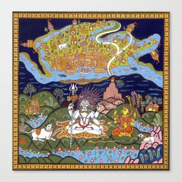 Shiva holding the city of Kashi on his Trident Canvas Print