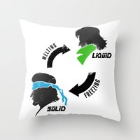 metal gear Throw Pillows featuring Metal Gear: Solid Liquid States by Bendragon