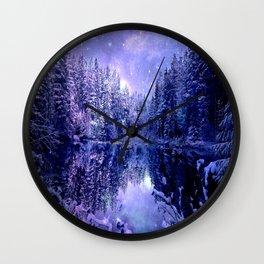 Lavender Winter Wonderland : A Cold Winter's Night Wall Clock