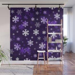 Dark Purple Snowflakes Wall Mural