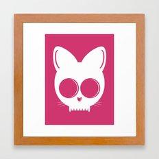 Skull Cat Pink Framed Art Print