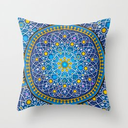 Blue geometry Throw Pillow