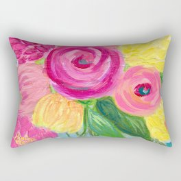 Bouquet of Flowers, Pink and Yellow Flowers, Painting Flowers in Vase Rectangular Pillow