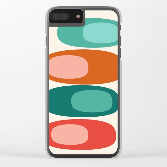 Ya Dig - abstract retro minimal dots 70s 1970s style pattern art 70's 1970's Clear iPhone Case