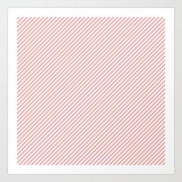 Mini Blush Pink and White Candy Cane Stripe Art Print