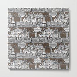 London toile mocha Metal Print