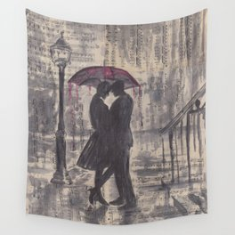 Silouette lovers on rainy street Wall Tapestry