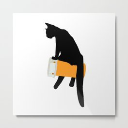 Black Cat Chillin' Metal Print