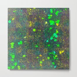 psychedelic abstract art texture background in green yellow black Metal Print