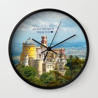 neverland Wall Clocks featuring Neverland by Sandy Broenimann