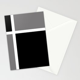 Black White Grey Color Block Stationery Cards