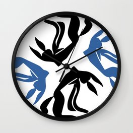 Girl with flowing hair jumping for joy Wall Clock