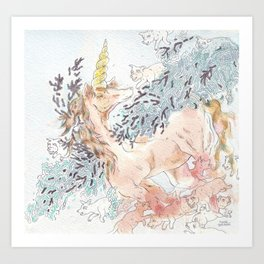 Unicorn Down Art Print