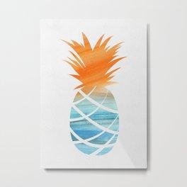Tropical Aqua + Orange Watercolor Pineapple Metal Print