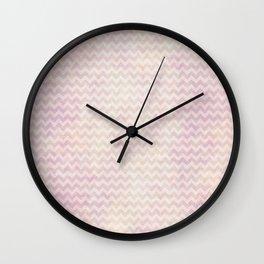 Geometric chevron: blush pink, pastel, ombre Wall Clock
