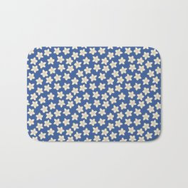 Simple Cream Floral Pattern on Blue Bath Mat