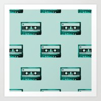 cassette Art Prints featuring cassette by Ginger Pigg Art & Design