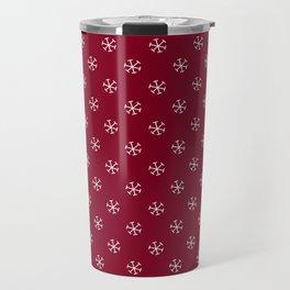 White on Burgundy Red Snowflakes Travel Mug